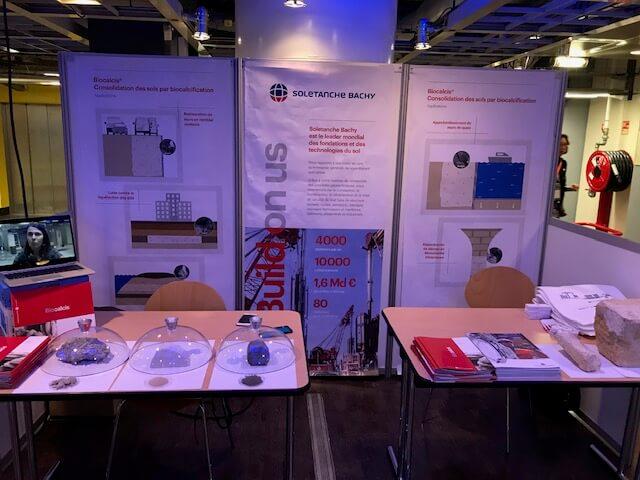Stand Biocalcis de Soletanche Bachy sur Biomim'Expo