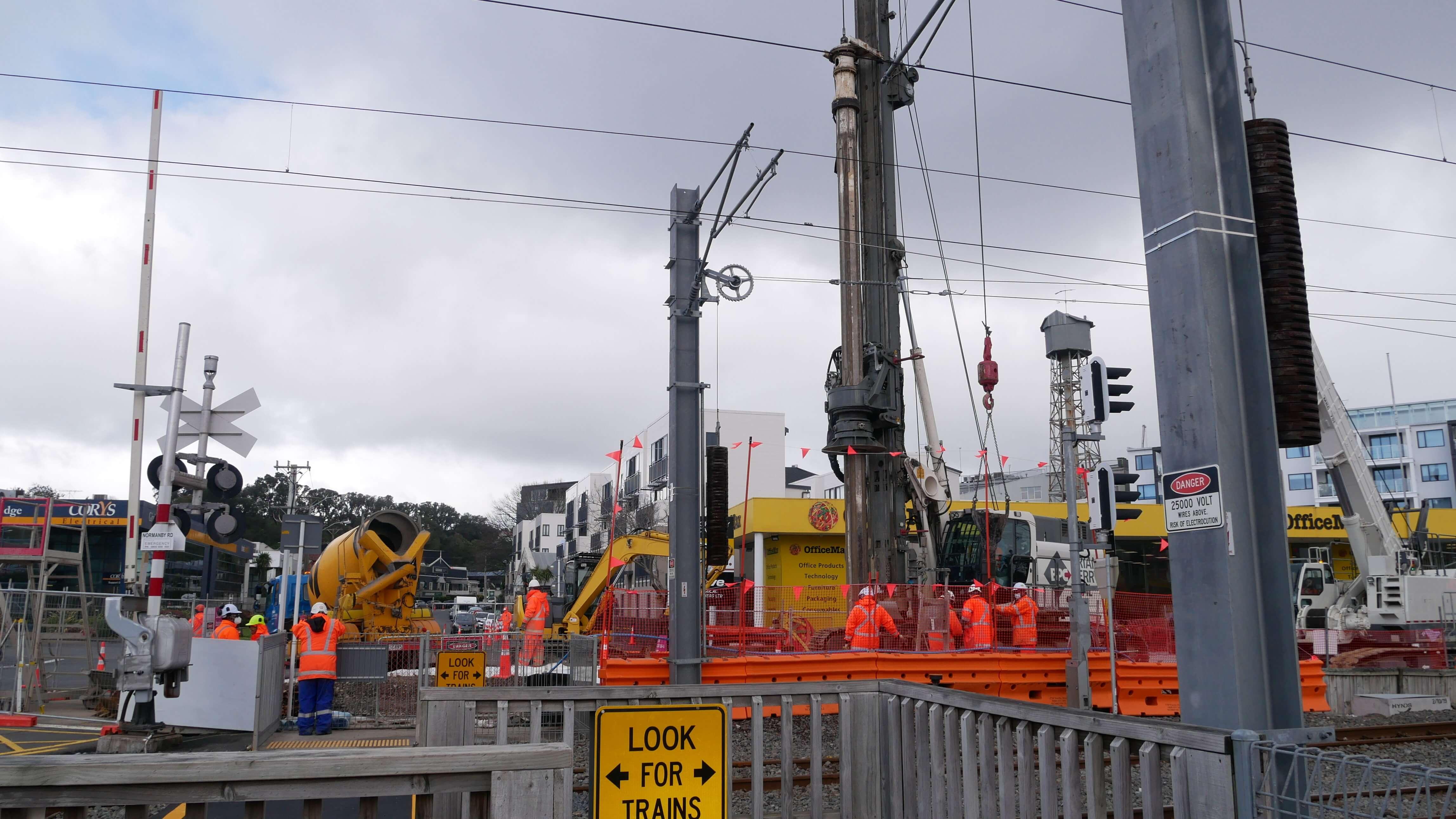 Passage à niveau sur le chantier du CRLC5 à Auckland NZ